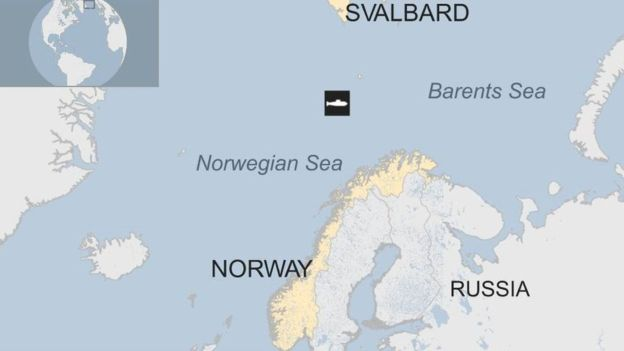 Lokasi tenggelamnya kapal selam Rusia Komsolets