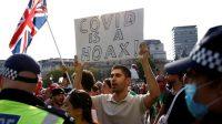 Ribuan orang di London unjuk rasa tolak lockdown tanpa mengenakan masker (net)